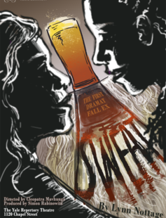The sillhoeutte of two women in shadow of a glass of beer
