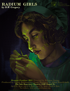 An image of a dialpainter with a green glow reflecting from the watch to her face