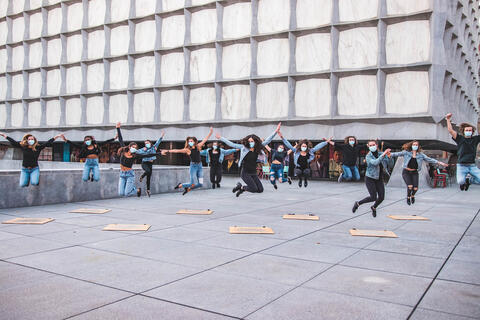 Members of Taps dance group in Beinecke Plaza